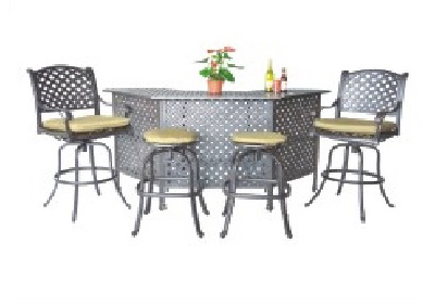 Nassau 5-piece Party Bar set: 1 Party Bar, 2 Barstools, 2 Barebarsstools