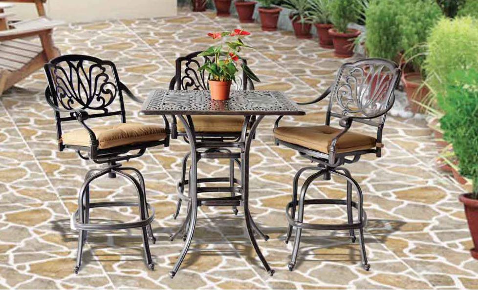 Elizabeth Bar Set -36- in Square Bar Table, Swivel Barstools