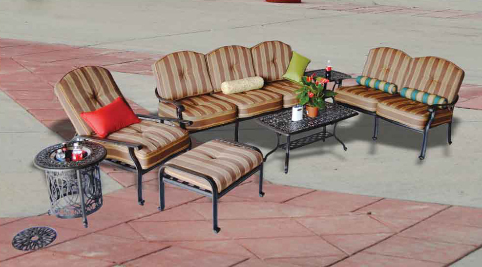 Elizabeth Seating Group -21x42 Coffee Table, 21-in Square End Table, Multi End Table  with Ice - Bucket, Sofa, Loveseat, Club Chair with Ottoman