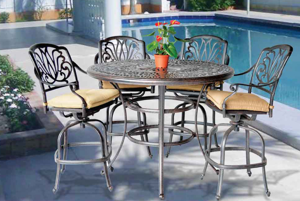 Elizabeth Bar Set -52- in Round Bar Table with Ice-Bucket,Swivel Barstools