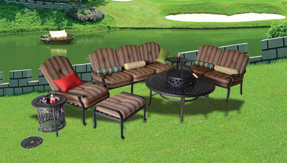 Elizabeth Seating Group -52-in Ice Tea Table with BBQ/Firepit, 21-in Square End Table, Multi End Table with Ice - Bucket, Sofa, Loveseat, Club Chair with Ottoman