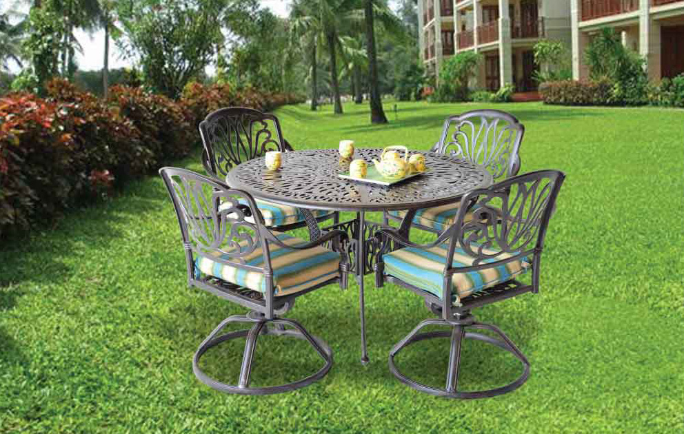 Elizabeth Dining Set  - 2 Swivel roker chairs, 2armchair, 48in round table