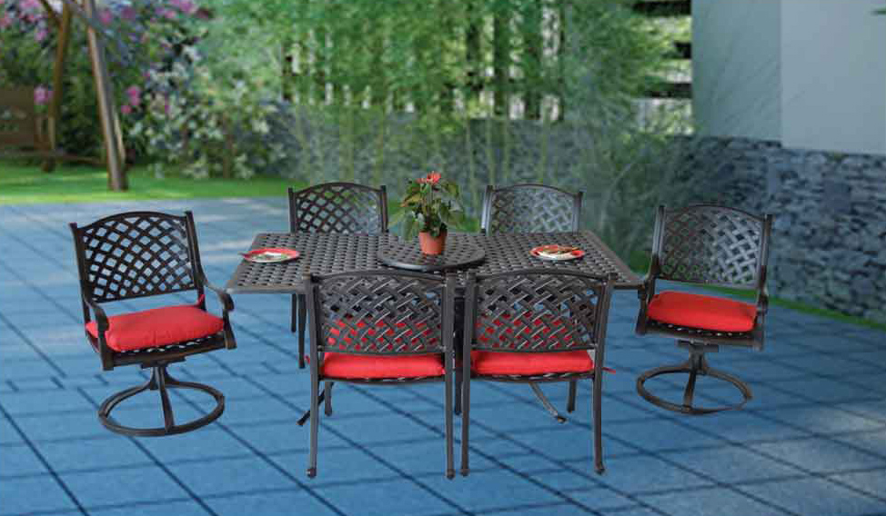 NASAU DINING SET- 42x72 Rect. Dining Table,21-in lazy Susan, Arm Chairs, Swivel Rocker Chairs